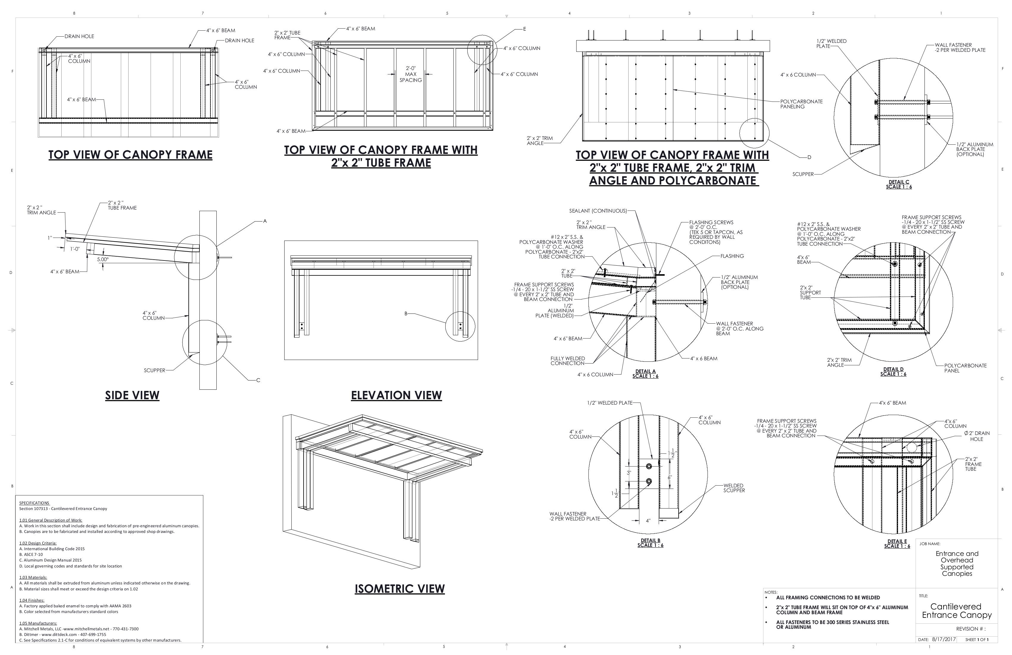 Cantilevered Canopy Details In 2019 Metal Canopy Canopy
