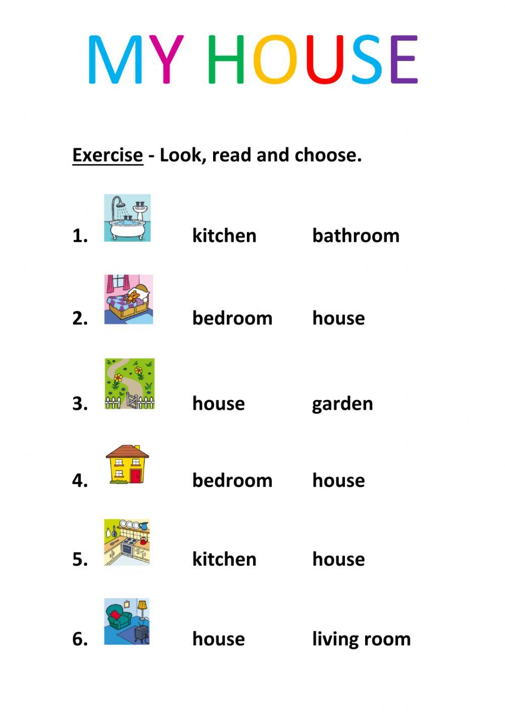 Rooms in the house interactive and downloadable worksheet. Check ...
