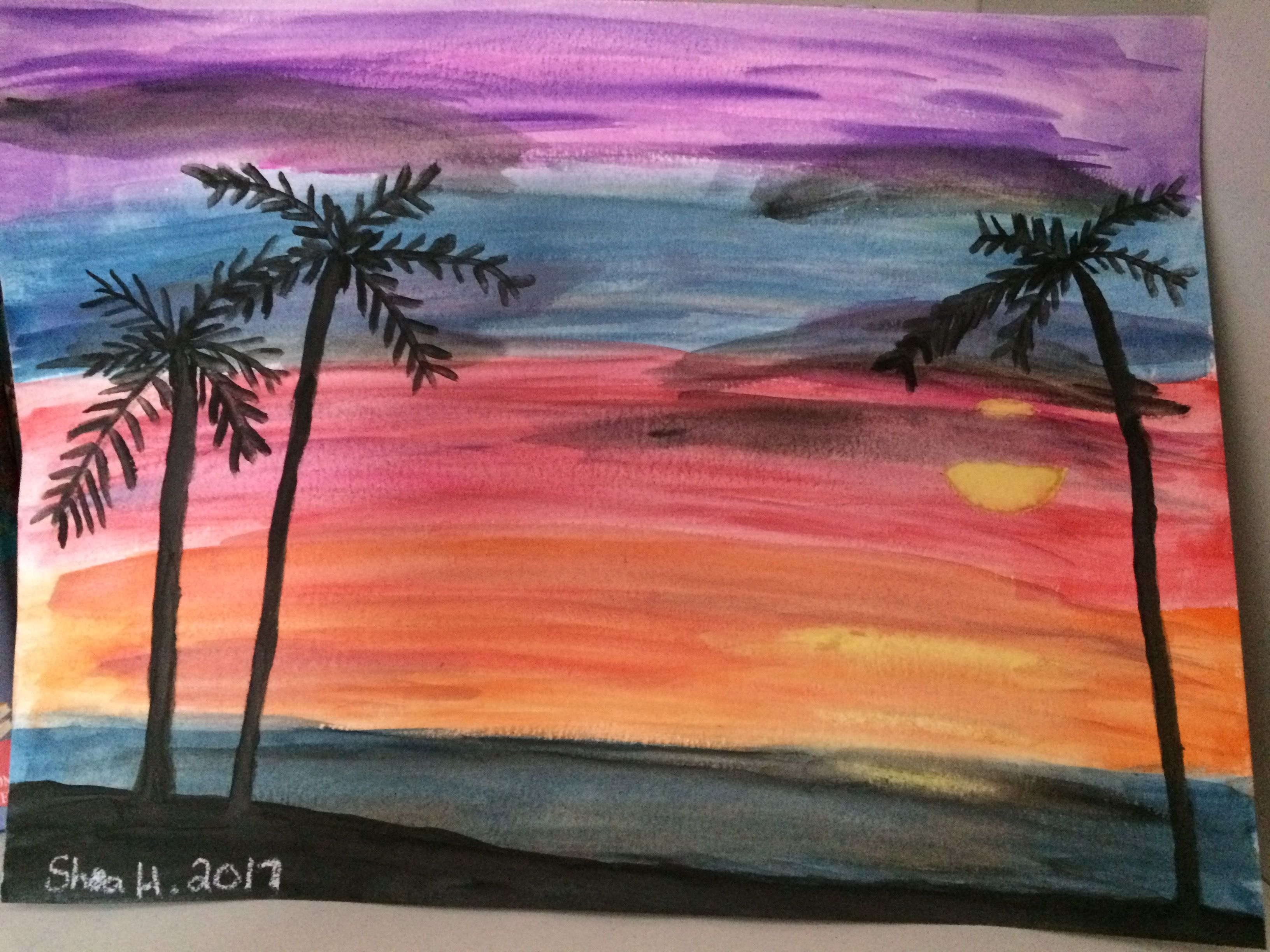 Super Easy Sunset Watercolor Painting SUNSET WITH PALM TREES