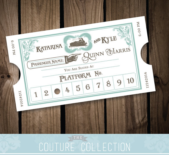 Vintage Styled Train Ticket Place Cards Escort Cards