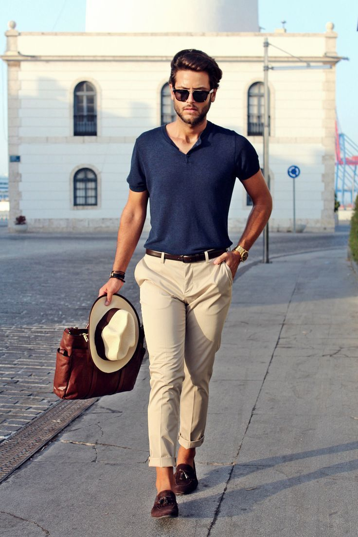Men's Navy Henley Shirt, Beige Chinos, Dark Brown Suede Tassel Loafers, Dark Brown Leather Briefcase
