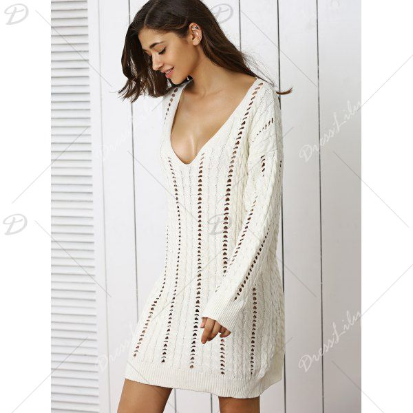 f39a1c5e83 Stunning Plunge Neck Crochet Long Sleeve Sweater Dress - OFF WHITE ONE SIZE