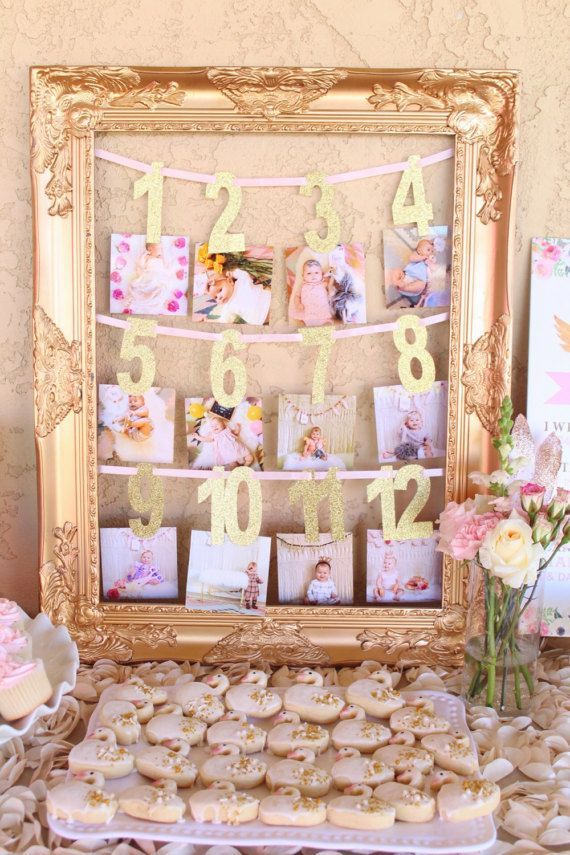 First Year Photo Banner Milestone Banner Baby S First Birthday Banner Gold First Year Photo Banner Monthly Photo Banner Bebek Ilk Dogum Gunu Kiz Bebek Dogum Gunu Dogum Gunu Afis