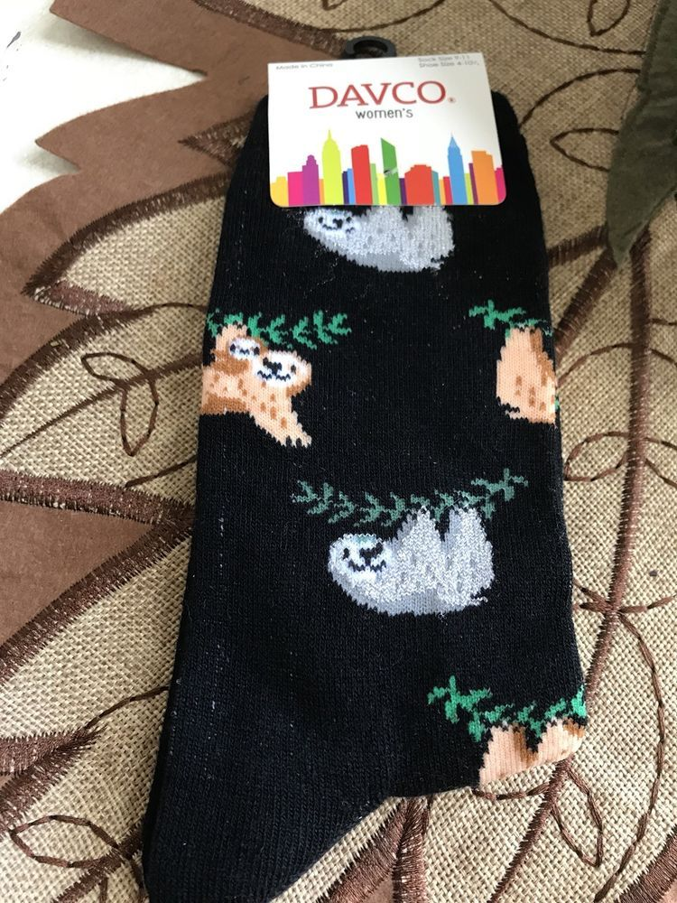 9c372878a2 Sloths Ladies Crew Socks Black NEW With Tags Cute !! (1) #fashion ...
