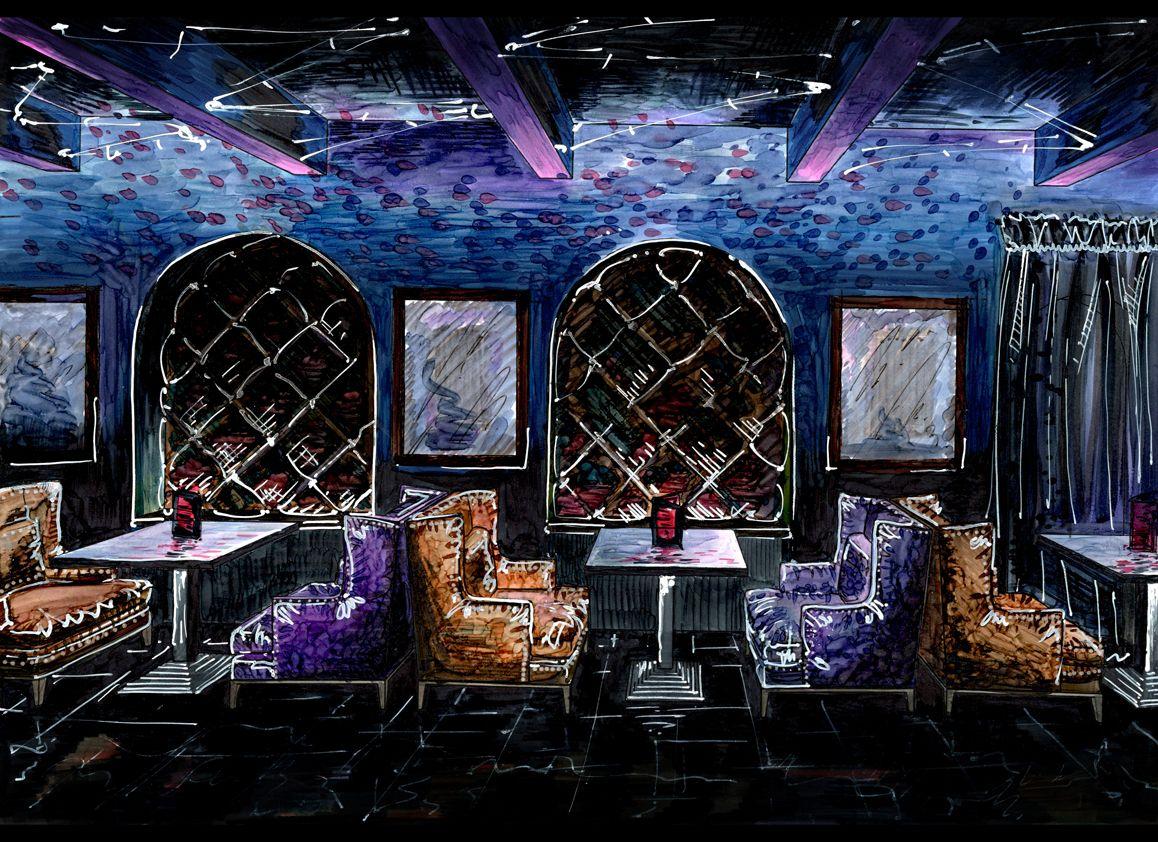 my idea restaurant night club sketch copic vip zone cafe bar