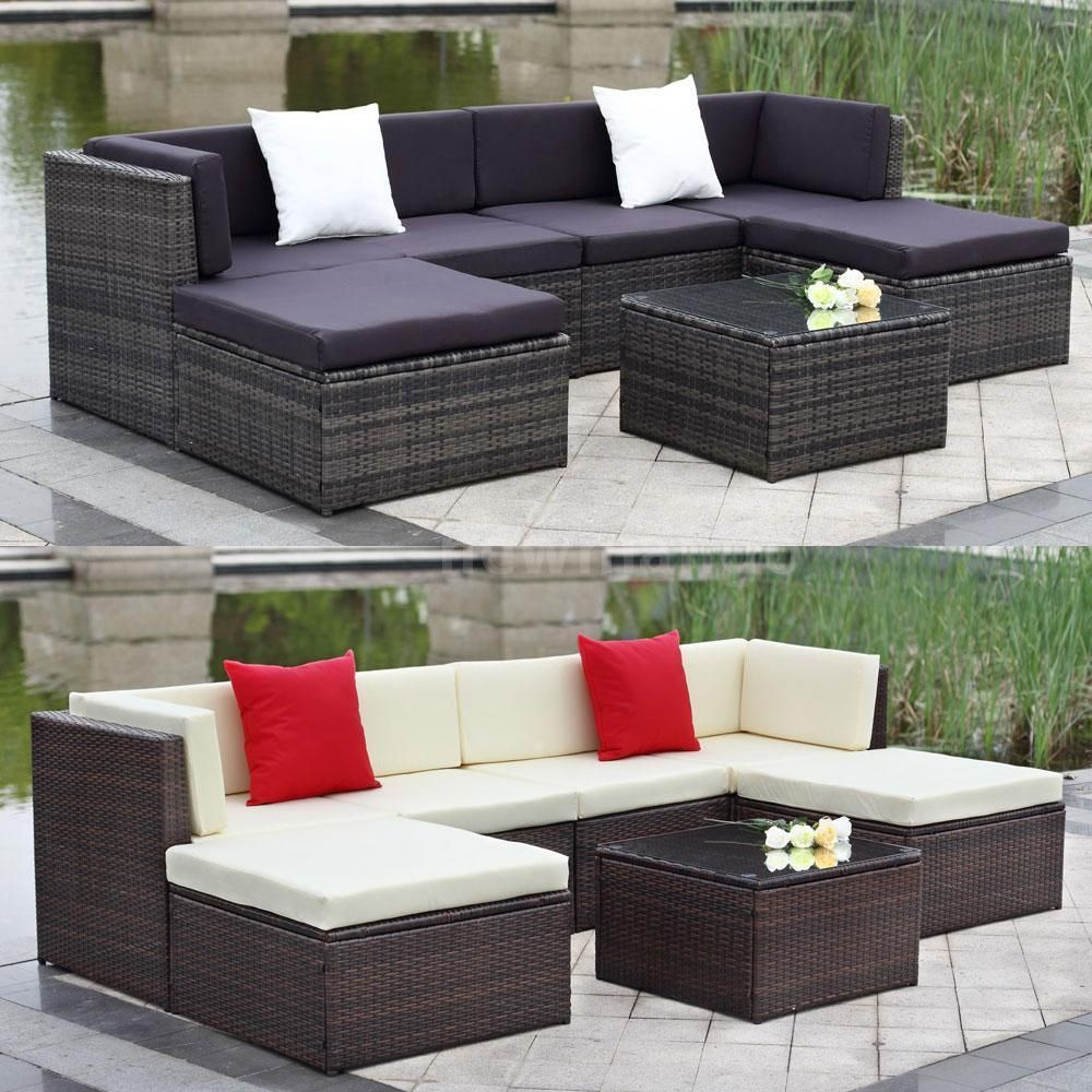 Details About 4PCS Wicker Rattan Sofa Furniture Set Patio