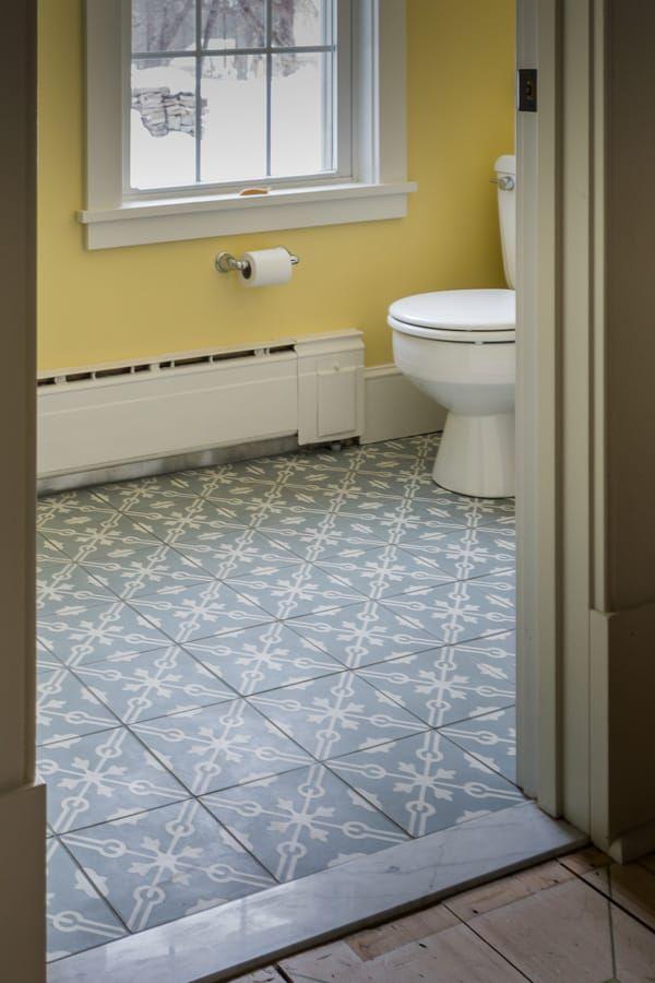 Bathroom Floor Concrete Cement Tile Veranda Majorca Pattern White Blue Grey  Encaustic Carrara Threshold