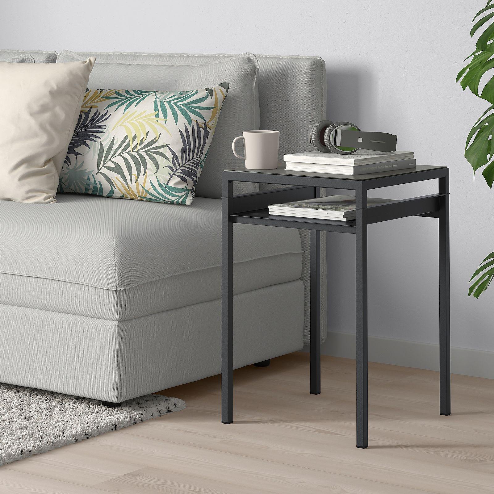 Nyboda Side Table W Reversible Table Top Dark Gray Concrete Effect Black 15 3 4x15 3 4x23 5 8 Ikea In 2020 Ikea Side Table Grey Side Table Black Side Table [ 1600 x 1600 Pixel ]