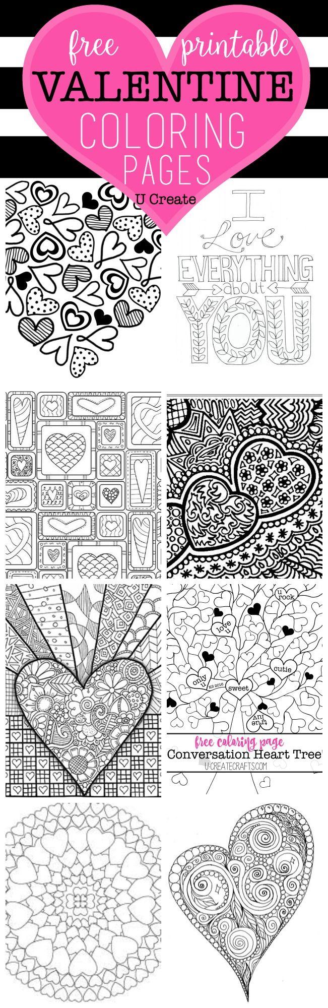 Free Valentine Coloring Pages | Zen, Basteln mit papier und Ausmalen