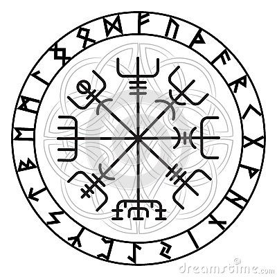 vegvisir la boussole magique de navigation de l islandais antique vikings avec les runes. Black Bedroom Furniture Sets. Home Design Ideas