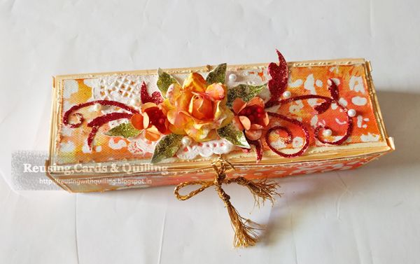 Reusing ,cards & Quilling : Altered Packaging Box + tutorial