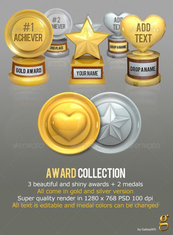 3 cool super shiny awards and 2 medals / All in gold and