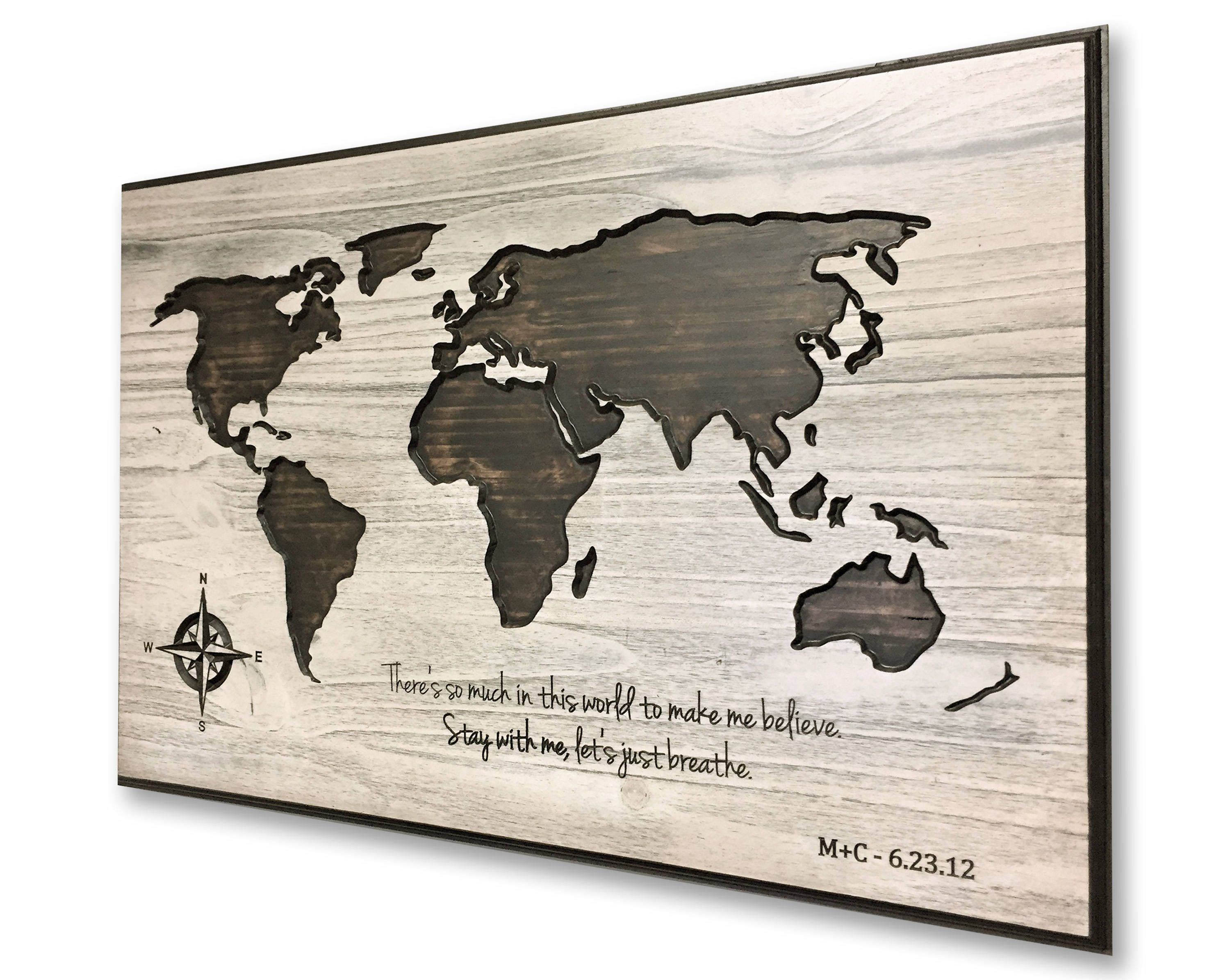 Wooden anniversary world map art personalized map travel map wooden anniversary world map art personalized map travel map push pin gumiabroncs Image collections