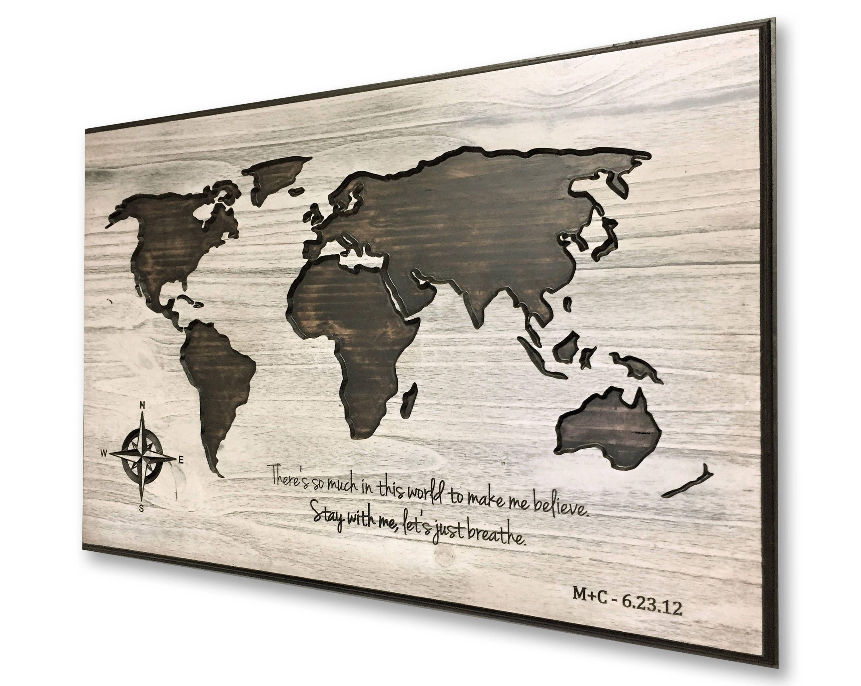 Wooden anniversary world map art personalized map travel map wooden anniversary world map art personalized map travel map push pin gumiabroncs Images