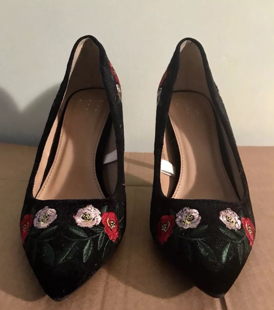e59fb348e6b8 A.N.D A New Day Black Velvet Pumps With Floral Embroidering Size 6  fashion   clothing  shoes  accessories  womensshoes  heels (ebay link)