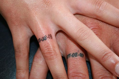 Wedding band tattoos, very small on ring fingers. Possibly in white ink so that it's less noticeable under the rings