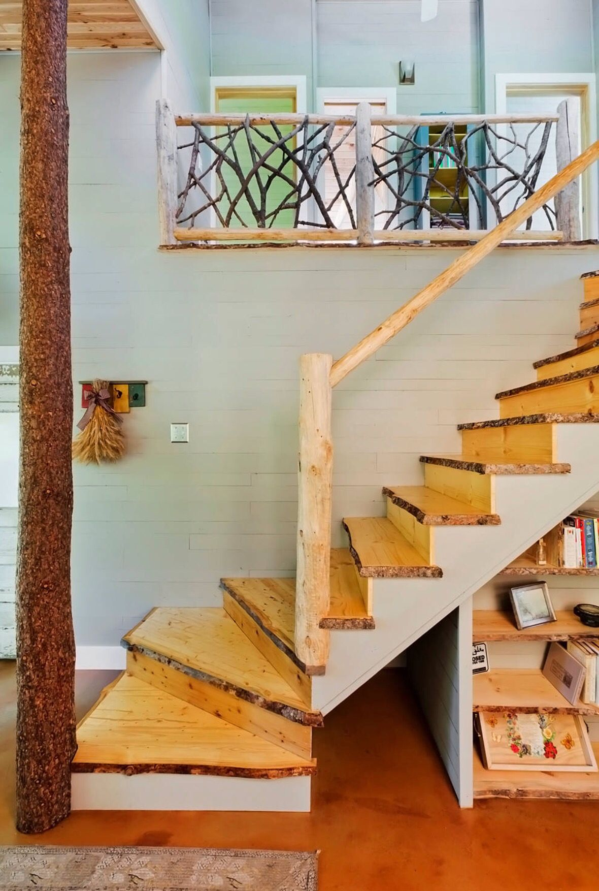 Best Live Edge Wood Stairs Rustic Staircase Staircase 400 x 300