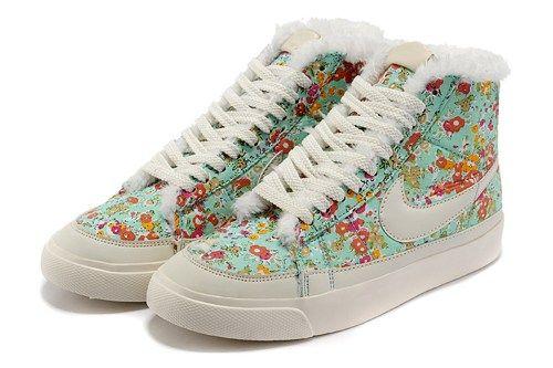 new styles e0f5a 3d30f Cheap Nike Blazer MID PRM 403729-700 fur white flower women shoes