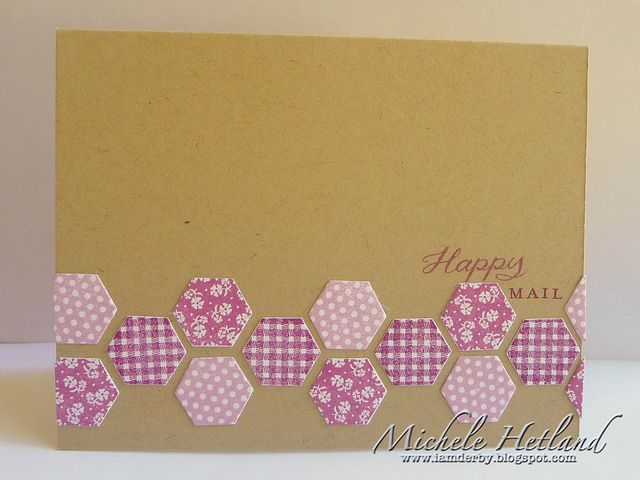 kraft card with a band of die cut hexagons...nice use of patterned stamps and die cuts from Paper Trey Ink...