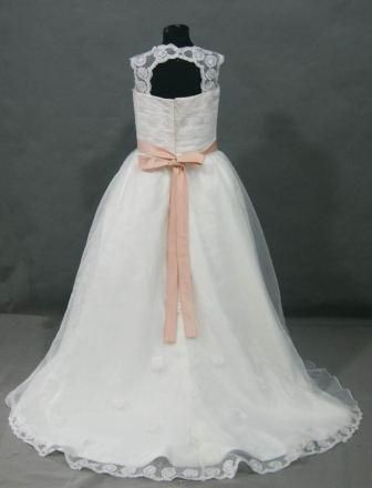 Lacy embroidered bodice with halter back and long train make this a lacy embroidered bodice with halter back and long train make this a luxurious flower girl dress mightylinksfo