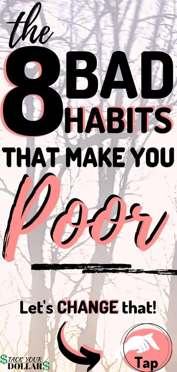 If you're bad at saving money and living within your means, you need to learn these secrets for breaking bad money habits. These are the 8 main habits keeping you broke, and it's time to change that. You can meet your money goals if only you learn the important tools you need to control your spending and use your money effectively so that it begins working for you. Come learn these personal finance strategies today! #moneytips #stackyourdollars #personalfinance #moneyhabits #moneygoals