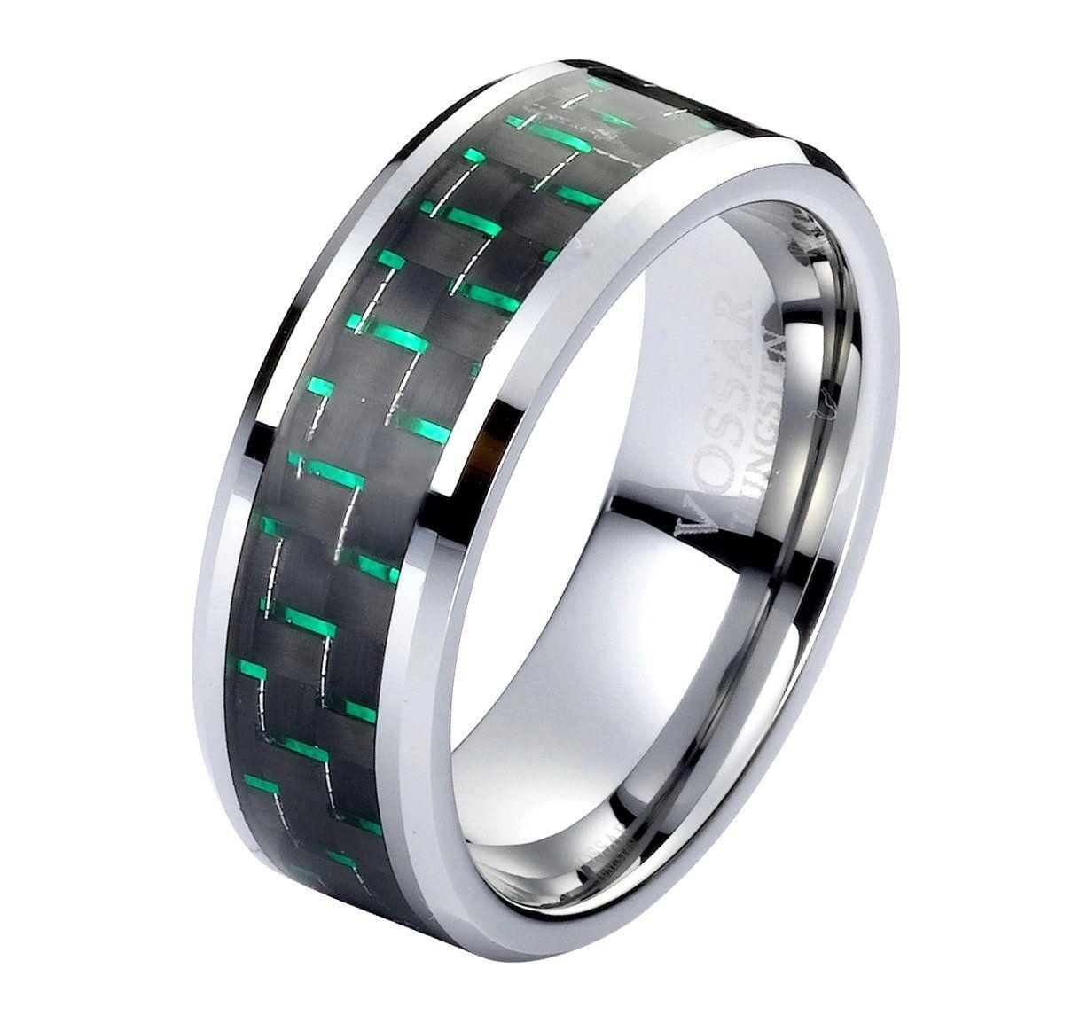 8mm Green Mens Wedding Ring band Tungsten Black & Green