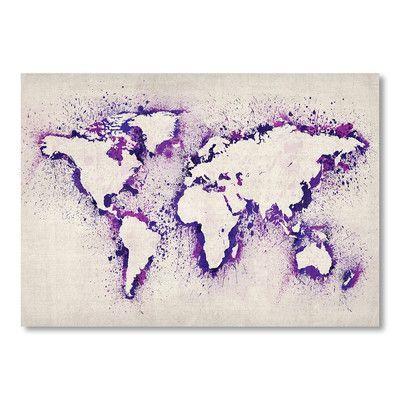 Ebern Designs Lanna World Map Watercolor Wall Mural Map Canvas Art Art Paintings Art Prints