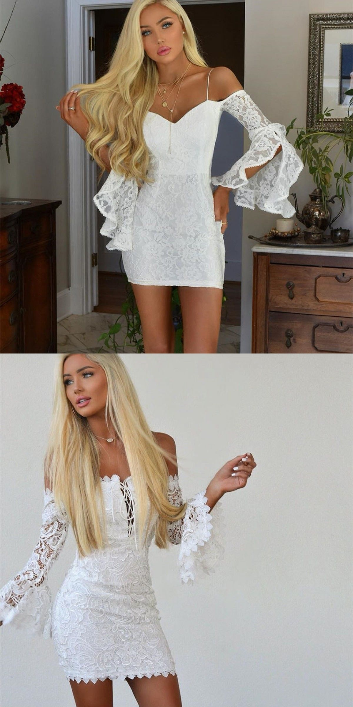 99c143b577ad Affordable Tight White Lace Homecoming Dresses with Long Sleeves