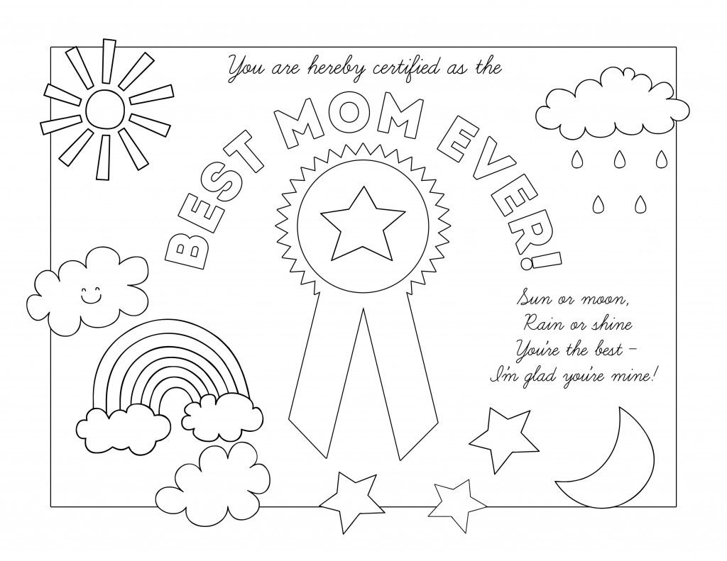 Best Mom Ever Weather Certificate Easy To Print And Color For Mom