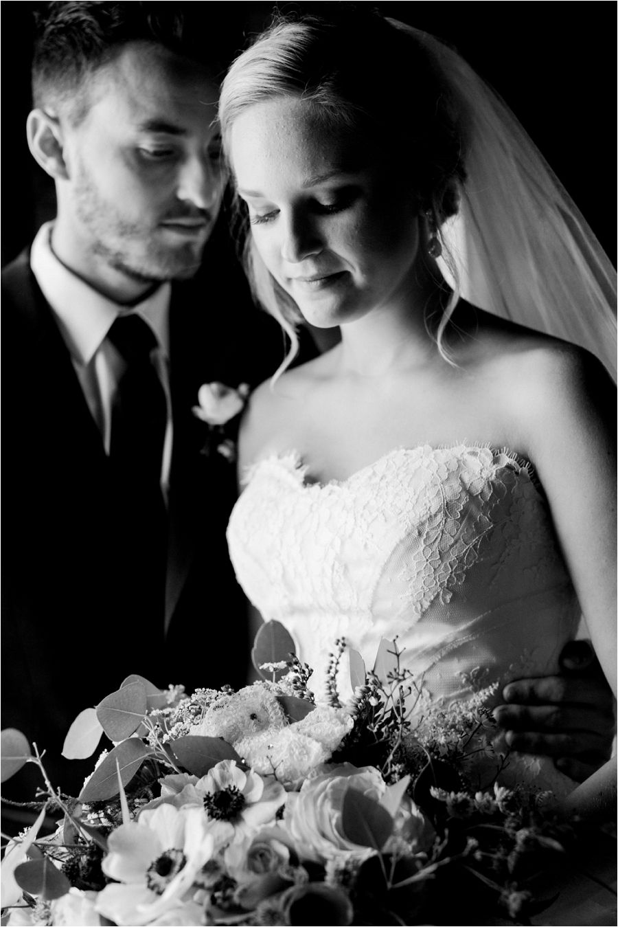 Bride and groom portraits first look black and white earthy