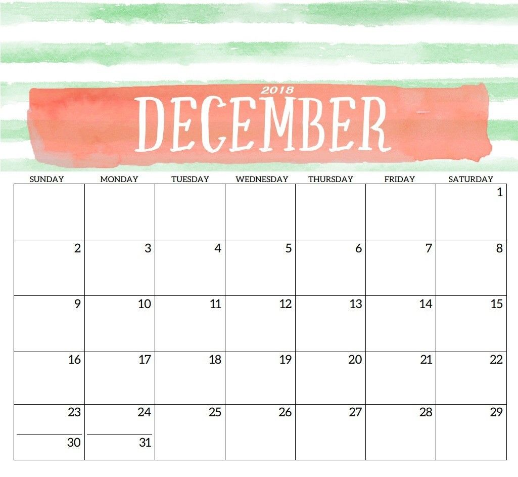 December 2018 Monthly Calendar Free Print Printable Calendar