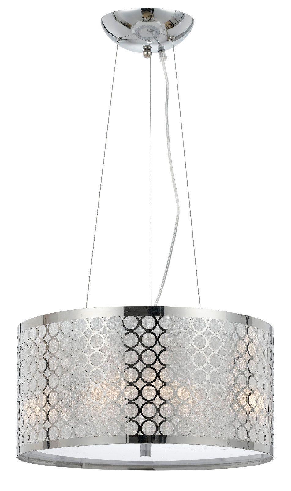chrome & white metallic fabric modern drum pendant light fixture
