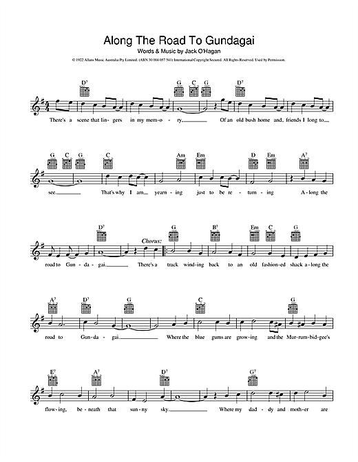Along The Road To Gundagai Piano Chords Sheet Music Notes   Piano ...