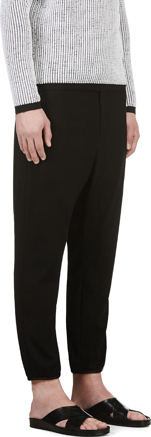 Costume National - Black Jersey Leather Trim Lounge Pants | SSENSE