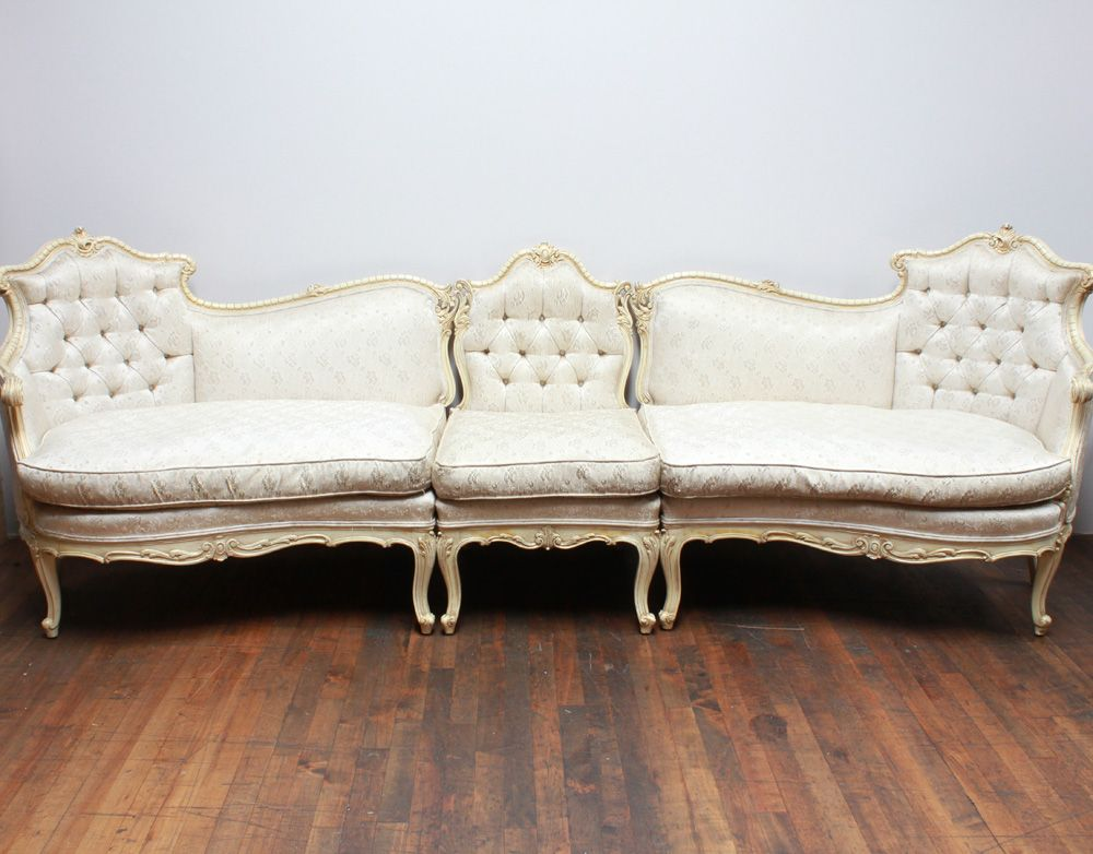 Rental, 175$. Grace Sectional Couch: Cream Satin French Provincial
