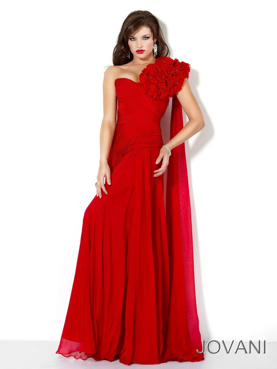 Column red oneshoulder open back long prom dress with hand made