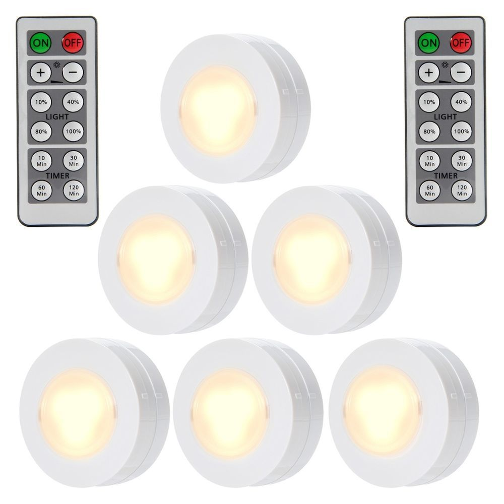 Set Of 6 Wireless Led Puck Lights Remote Control Dimmable Kitchen