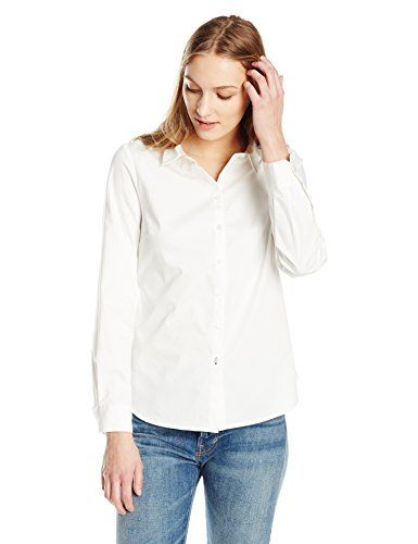 Special Offer: $29.70 amazon.com Essentialist pieces craft understated sophistication with dramatic silhouettes and classic, clean details.Slim-fit button-front shirt with spread collar and contrast-stitched buttonholeStretch cotton fabricPrincess seaming at back for a tailored fitRounded...
