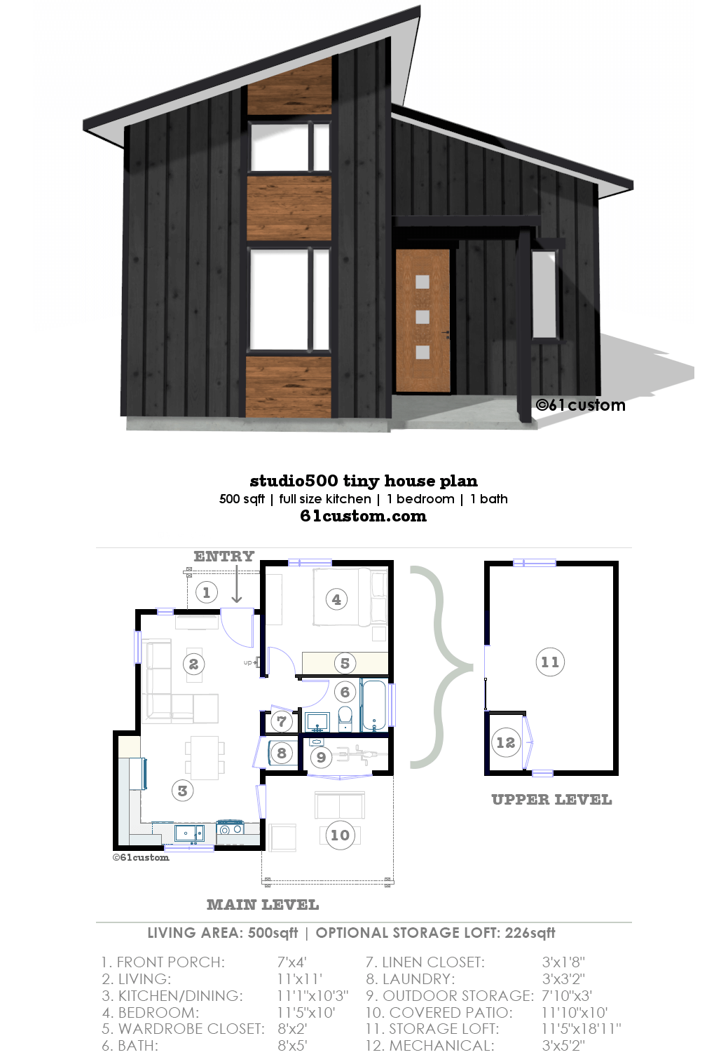 Studio500 Modern Tiny House Plan Modern Tiny House