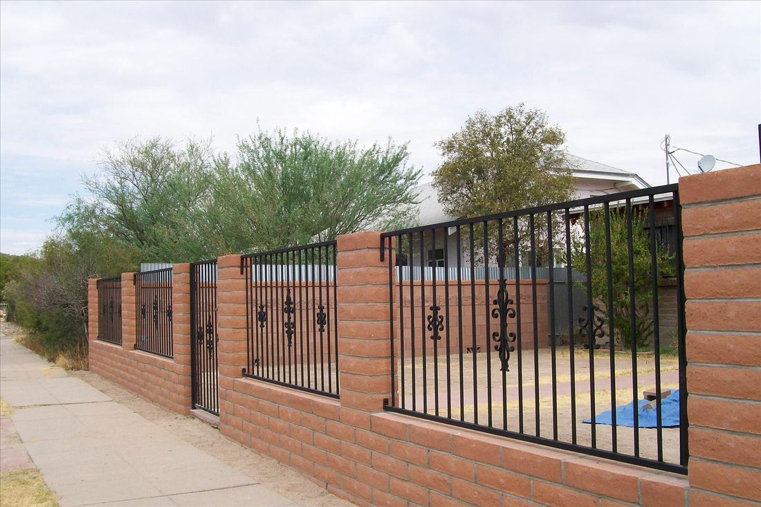 34 awesome wrought iron and brick fence designs images for Brick and wrought iron fence designs