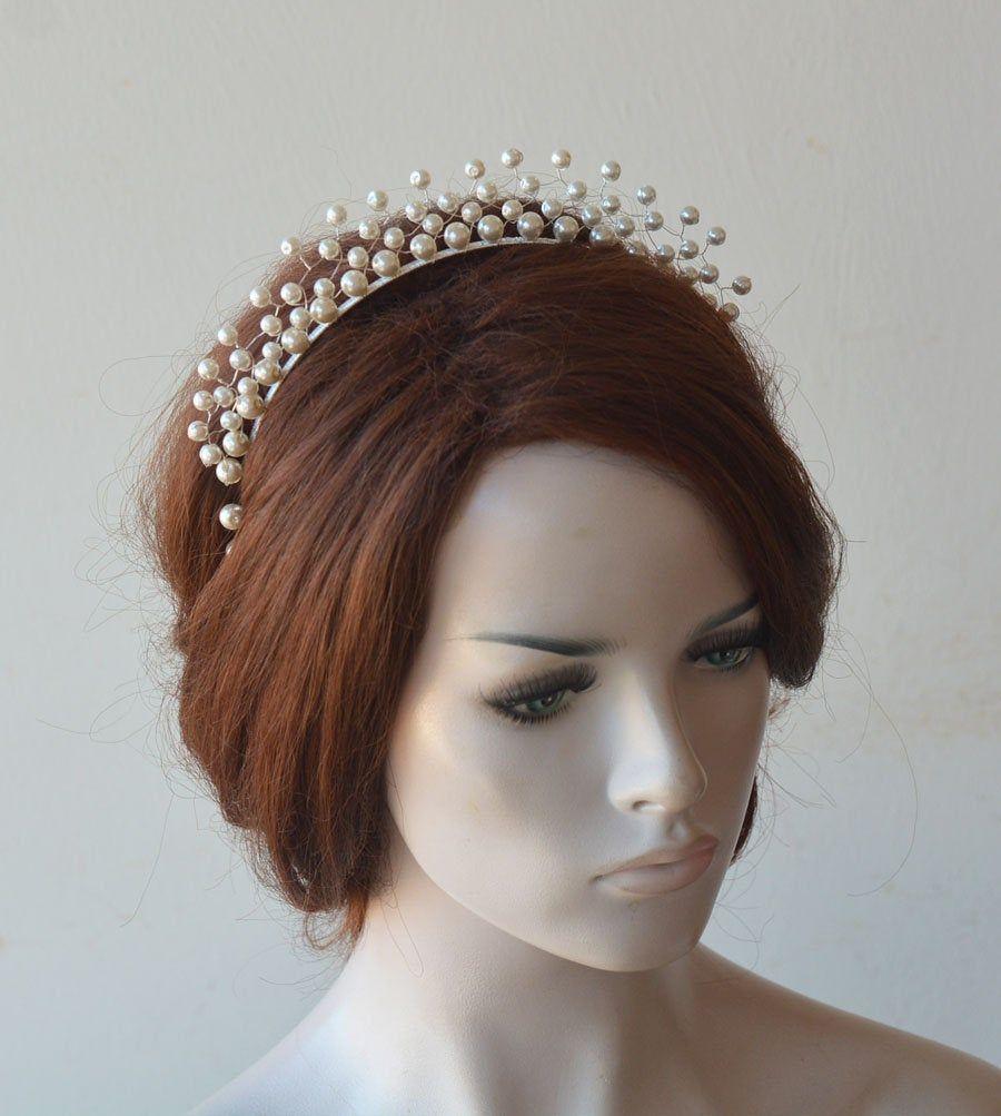 Photo of Perle Stirnband Diademe, Brautkrone, Perle Krone, Haar Tiara für die Braut, Hochzeit Kopfbedeckung, Perle für die Braut, Hochzeit Haarzubehör