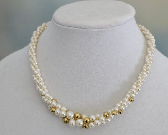 Bridal Jewelry Napier Twisted Gold and Faux by IRENESVINTAGEBLING