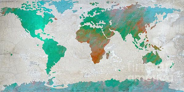 Map Of The World - Colors Of Earth And Water by Paulette B Wright