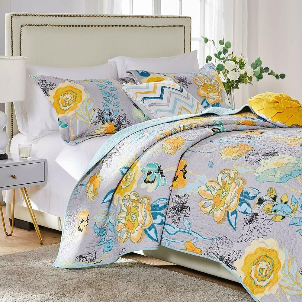 Quilt Bedspread Coverlet Set 100 Cotton Gray Blue Yellow Floral Bedding King Greenlandhome Modern Quilt Sets Bedding Quilt Sets Cotton Quilt Set