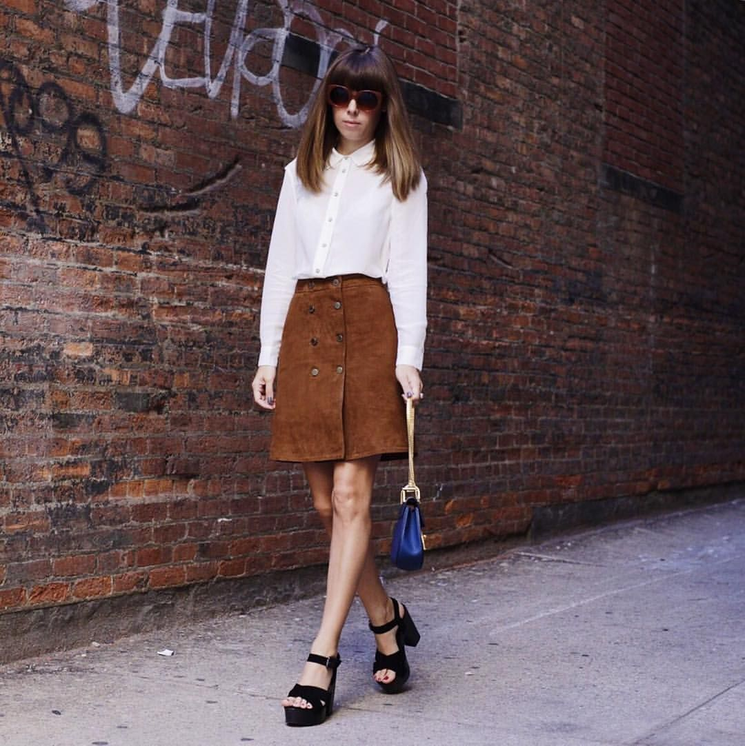 "J E N N Y on Instagram: ""Around town today wearing this Falls staple; the suede skirt from @allsaintslive | Shop the look via @liketoknow.it www.liketk.it/1LjFJ #liketkit"""