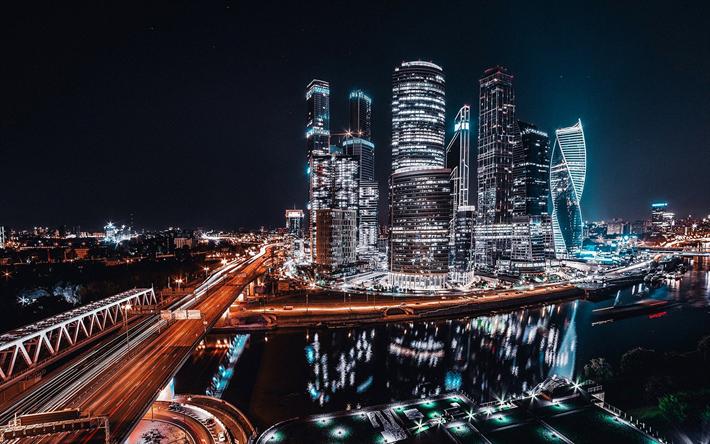 Descargar fondos de pantalla Moscú-Ciudad, de paisajes nocturnos, rascacielos, Moscú, Rusia