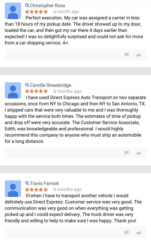 What Our Customers Are Saying About Us Direct Express Auto Transport Expressions Sayings Directions