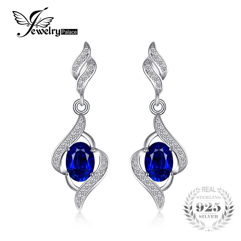 Miore Ladies 925 Sterling Silver Sapphire Blue and Diamonds Drop Earrings bE9FAf