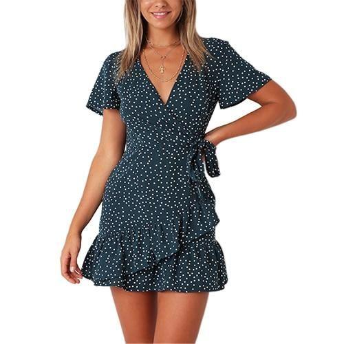 TIGENA Ruffles Polka Dot Dress Women With Belt 2018 Sexy V-neck Tunic Boho  Beach 9cce33c25