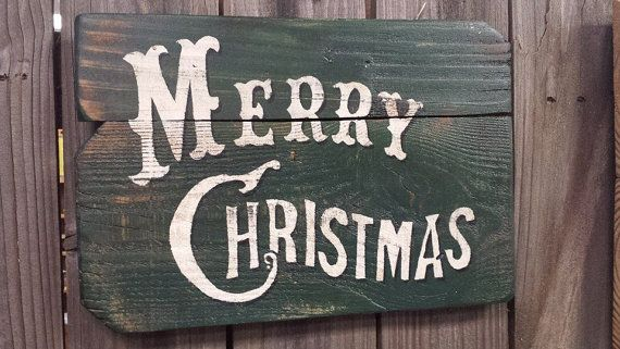 Wood Sign Christmas Sign Vintage Merry by FarmFreshCollections